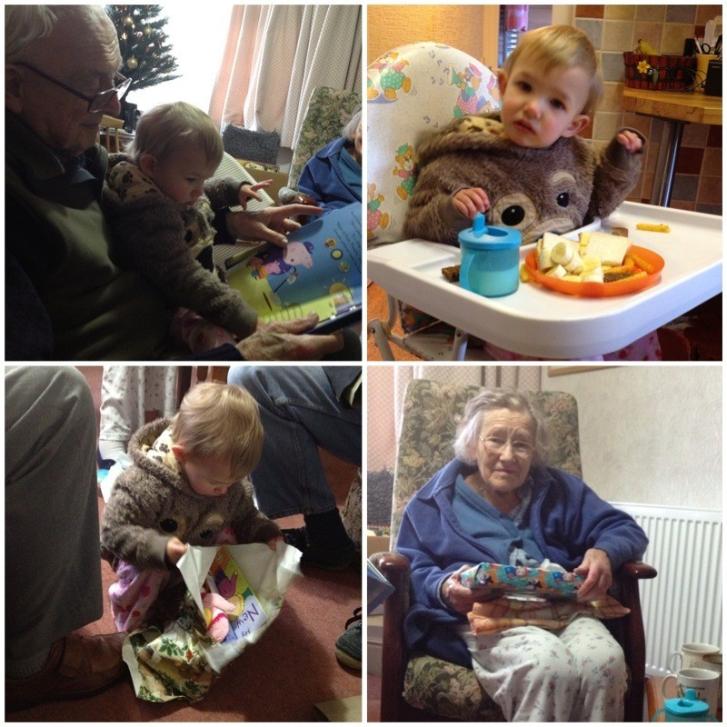 Opening gifts with Granny & Grandfather - cheese sandwiches for lunch on Christmas day!