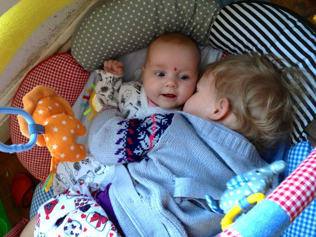 Cuddles on the play gym