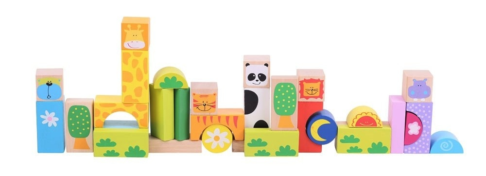 Bigjigs Toys Wooden Safari Building Blocks