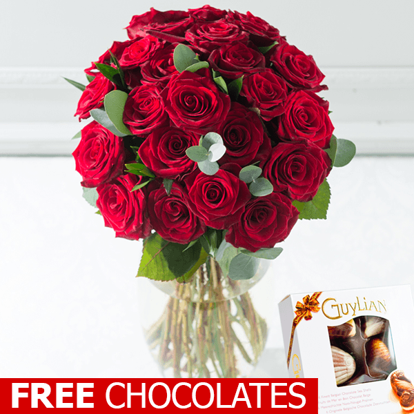 24 Luxury Red Roses for Valentines Day