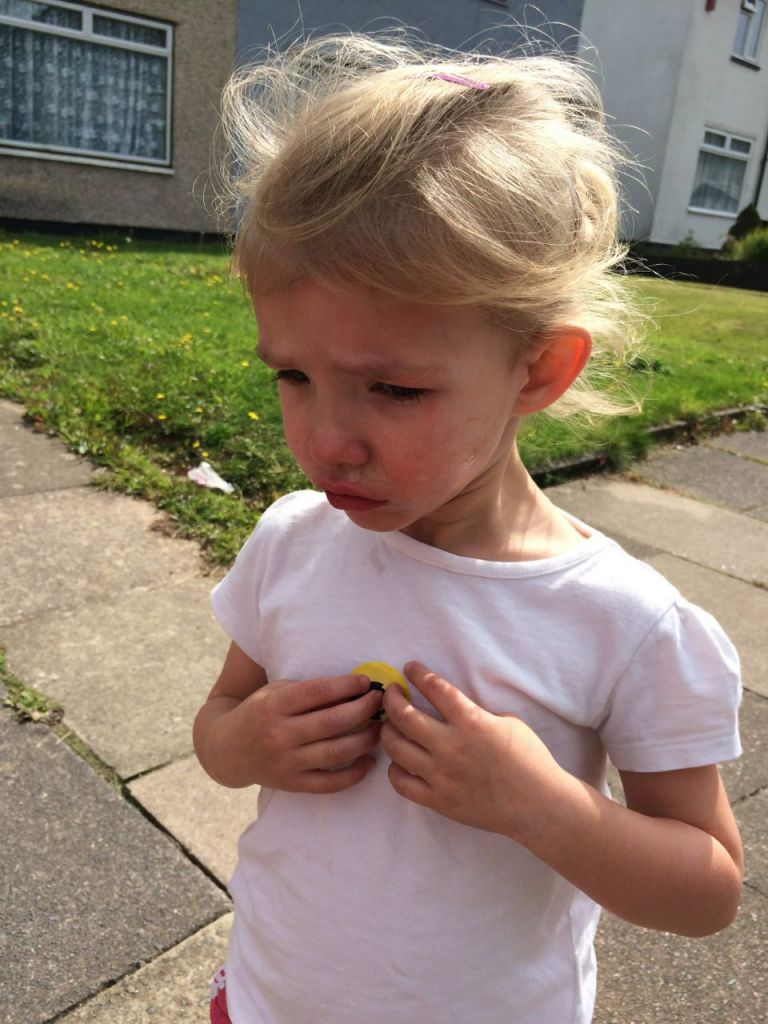 Sad about leaving playgroup on her first day