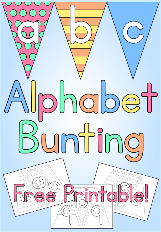 ... alphabet bunting sheets we could print out and colour in to make name