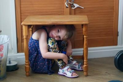 Georgie hiding under a table