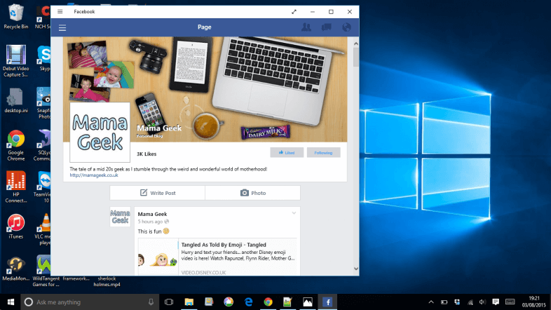 Windows 10 Facebook