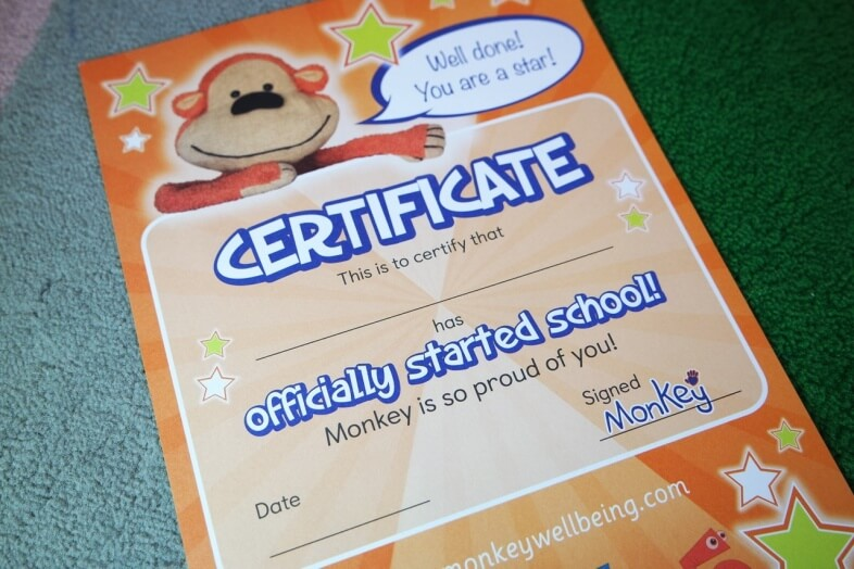 Monkey's Guide to Starting School - Certificate