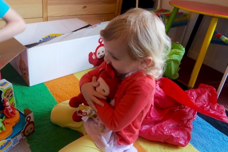 Love at first cuddle for Lydia & her 8-inch talking Po