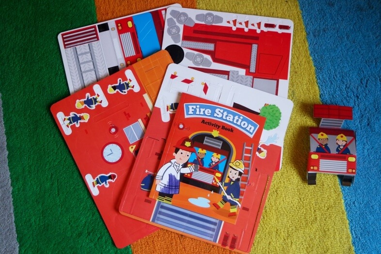 Fire Station playset with pop out cardboard pieces