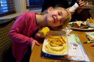 Georgie enjoying her meal
