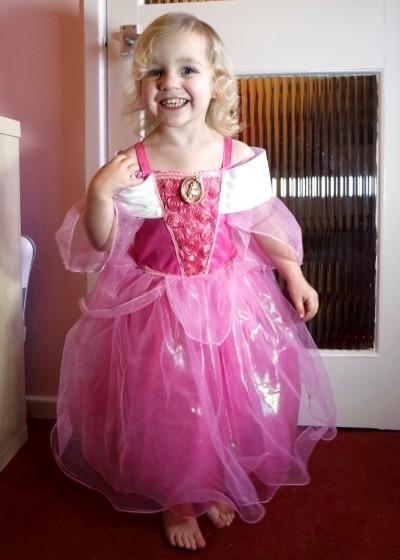 Lydia in the Disney Store Sleeping Beauty dress