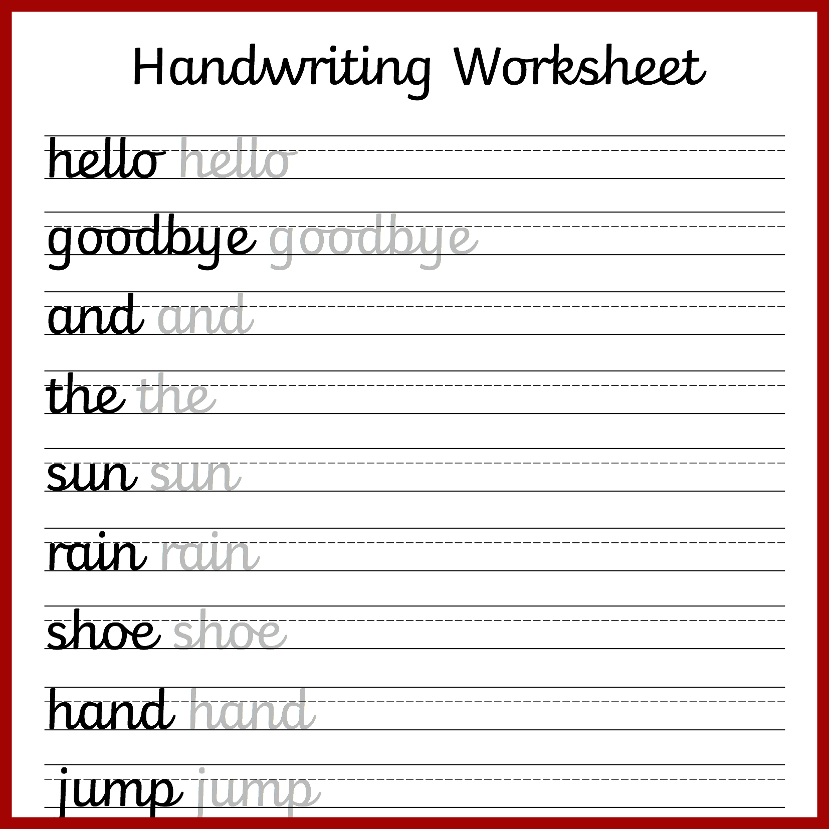 hand writing worksheets Students can practice writing words using printable handwriting practice worksheets customize for font style, size, case, and guiding arrows.