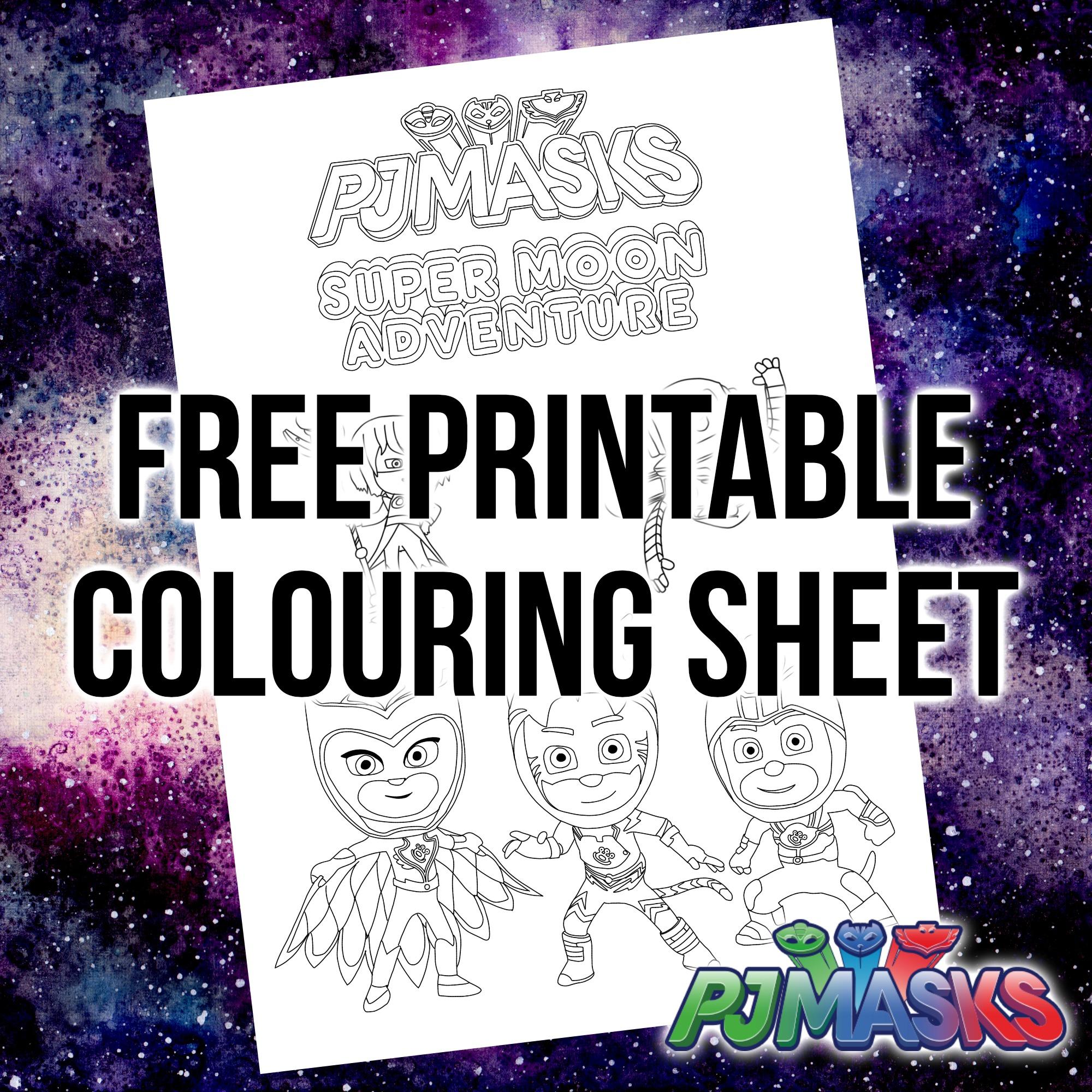 Printable PJ Masks Super Moon Colouring Sheet
