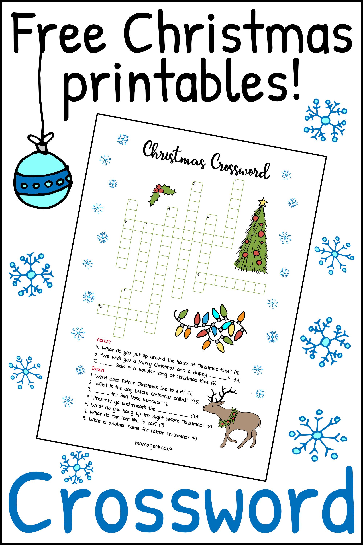 Free Christmas printables - Crossword